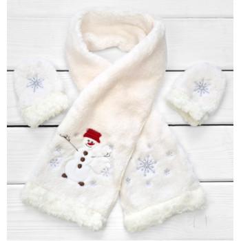 Детский новогодний шарф и рукавички из флиса с вышивкой снеговика