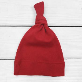 Красная шапочка с узелком тонкая (интерлок) для новорожденных