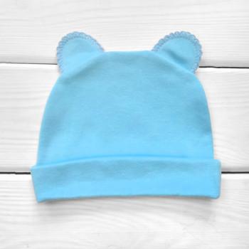 Шапочка голубого цвета с ушками 56 62 68 74 р. Интерлок для детей до года