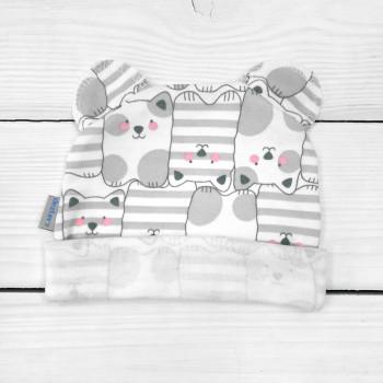 Шапочка с ушками 68 74 р. Кошечка Интерлок для детей до года