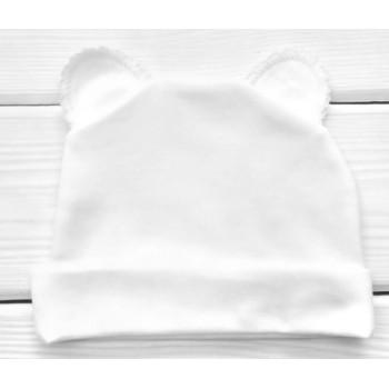 Шапочка молочного цвета с ушками 62 74 Интерлок Молочная для малышей
