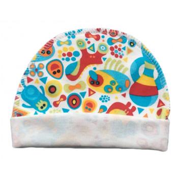 """Тонкая (ткань интерлок) шапочка с наружным швом """"Красный Додо"""" для новорожденных"""