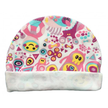 """Тонкая (ткань интерлок) шапочка с наружным швом """"Розовый Додо"""" для новорожденных"""