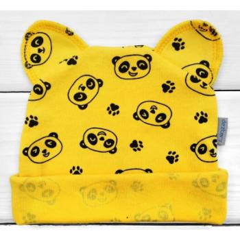 Шапочка Желтая с ушками Панда 56 размеры для новорожденных