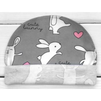 Тонкая из интерлока шапочка с наружным швом для новорожденных Cute Bunny