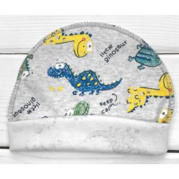 Тонкая из интерлока шапочка с наружным швом для новорожденных Дино