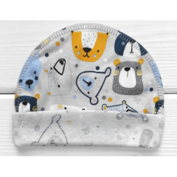 Тонкая из ткани интерлок шапочка с наружным швом для новорожденных Мишка