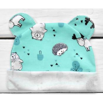 Шапочка с ушками Интерлок Ежик Мятная 56 62 68 74 размер для новорожденных