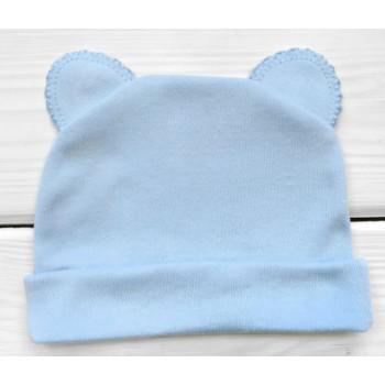 Шапочка голубого цвета с ушками 56 68 74 размеры для мальчиков