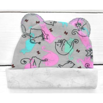 Тонкая из интерлока шапочка с ушками 56 62 размеры для новорожденных девочек Котик