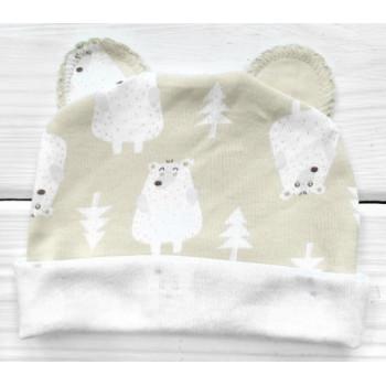 Шапочка с ушками Мишки Бежевая для малышей 56 62 68 74 размеры