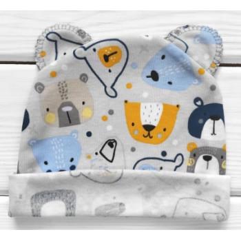 Шапочка с ушками для самых маленьких детей Мишка