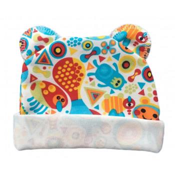"""Тонкая (ткань интерлок) шапочка с ушками """"Красный Додо"""" для новорожденных"""