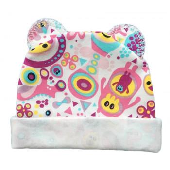 """Тонкая (ткань интерлок) шапочка с ушками """"Розовый Додо"""" для новорожденных"""