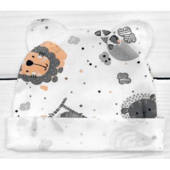 Шапочка с ушками 56 р. Интерлок для новорожденных