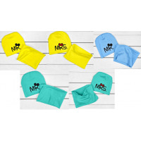 Детские шапочки с хомутами, стрейч хлопок, 98 110 122 размеры