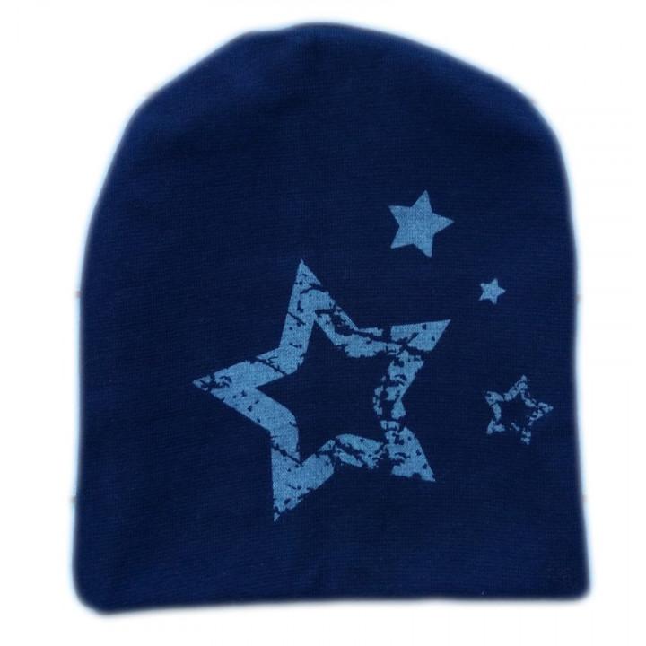 """Двойная темно синяя детская шапочка """"Звезда"""""""
