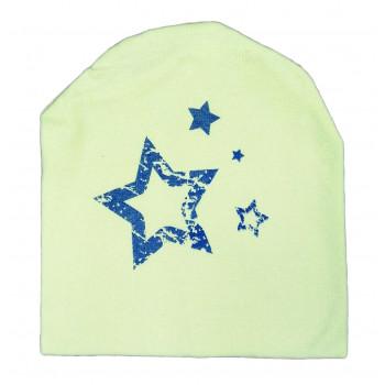 Трикотажная двойная желтая шапочка для малышей Звездочки