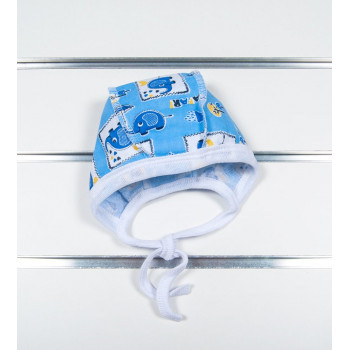 """Байковый чепчик """"Слоник"""" для новорожденных мальчиков. Размеры: 36 40"""