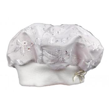 Летний белый берет для новорожденной девочке