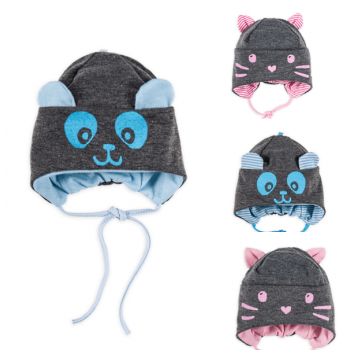 """Трикотажные шапочки с завязками для новорожденных """"Бо""""."""