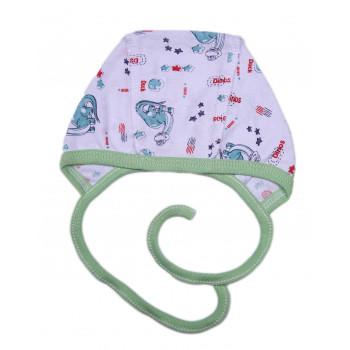 Чепчик на завязках Дино Кулир для новорожденных в роддом