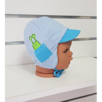 Тонкая детская шапочка 44-46 см обхват для мальчиков Букашка