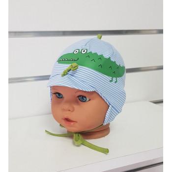 Тонкая детская шапочка 40-42 см обхват для мальчиков Крокодил