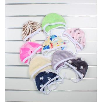 Теплые шапочки на завязках из велсофта для новорожденных