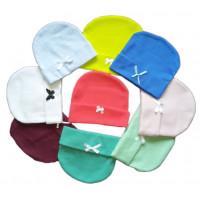 Разноцветные двойные колпачки (интерлок) для ребенка. Размеры 62 (примерный возраст 1-3 месяца)