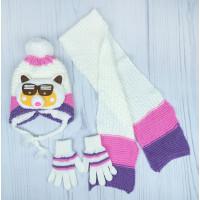 Демисезонный детский набор: шапочка, шарф, перчатки на возраст 3-5 лет