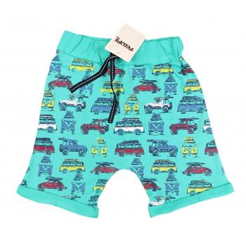 Бирюзовые шорты на мальчика 92 110 размеры Машинки