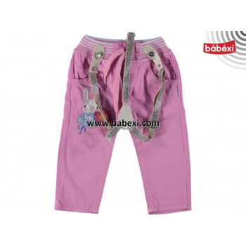 Тонкие трикотажные штаны с подтяжками для девочек 74 размеры