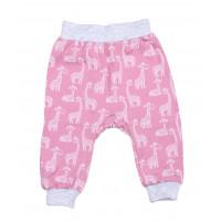Штаны Жираф на девочку Розовые Интерлок 68 74 80 86 размеры