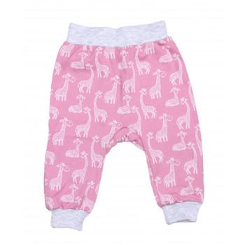 Штаны Жираф на девочку Розовые Интерлок 68 размер