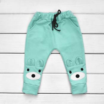 Детские Бирюзовые штаны Мишка Футер 110 размеры
