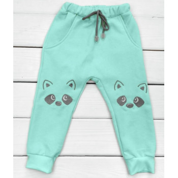 Теплые из футера мятные штаны с карманами 104 110 размеры