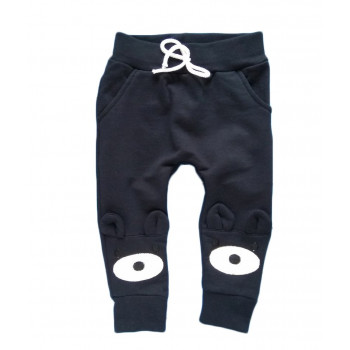"""Детские черные штаны 74 86 92 104 размеры """"Глазки"""" из футера"""