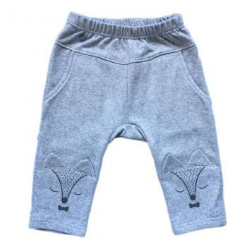 Тепленькие из футера детские серые штаны 80 размер