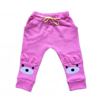 """Тепленькие из футера розовые штаны """"Мишка"""""""