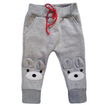 """Теплые (ткань футер) серые детские штаны 74 80 92 98 размеры """"Глазки"""""""