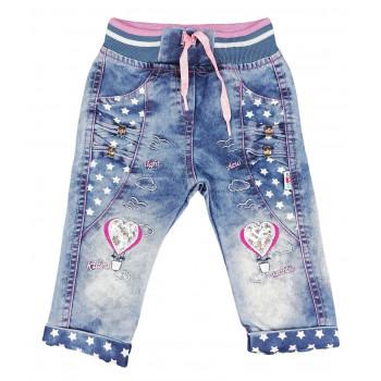 Тонкие джинсы на девочку 12-18 месяцев Сердечка