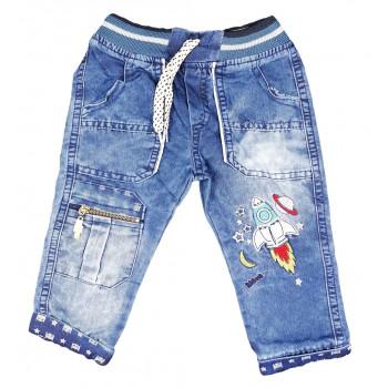 Тонкие джинсы на мальчика 6-9 12-18 месяцев Ракета