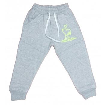 Теплые (ткань трехнитка) серые штаны для детей на 2 3 года Снупи