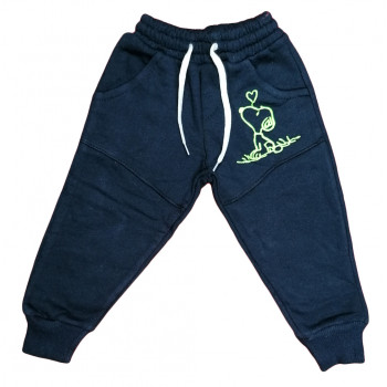 Теплые (трехнитка) темно синие детские штаны на 3 4 годика Снупи