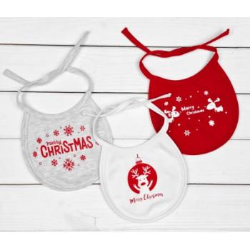 Новогодние слюнявчики для малышей к праздничному столу Merry Christmas
