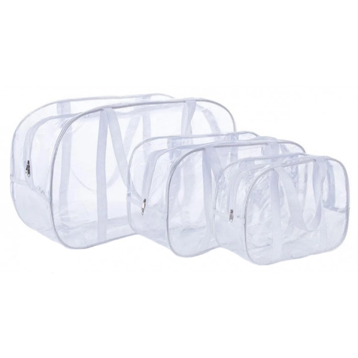 Набор из 3 прозрачных сумок в роддом с белыми ручками