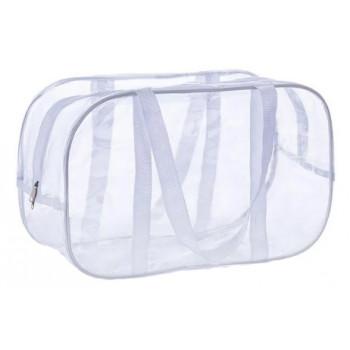 Маленькая прозрачная сумка 30*20*15 см в роддом, белая