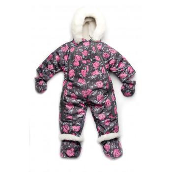 Зимний детский комбинезон трансформер для девочек 0-1 год