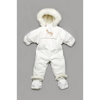Зимний детский белый комбинезон трансформер 3 в 1 с рождения и до года